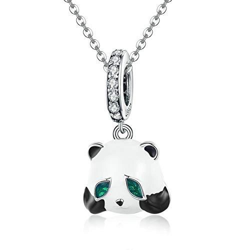 HSUMING Falsche Panda 925 Sterling Silber DIY Schmuck Kristall Halskette Anhänger für Mädchen, Geschenk für Frauen,Necklace (Kostüm Panda Diy)