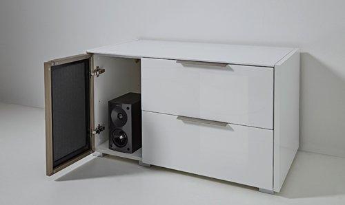 7-tlg Wohnwand in Hochglanz weiß/grau mit Akustik-Fächern und LED-Beleuchtung, Gesamtmaß B/H/T ca. 324/170/51 cm - 5