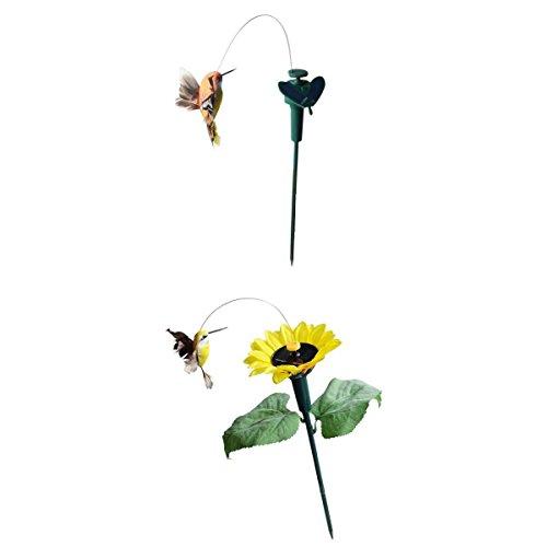 FLAMEER 2 Stück solar flatternd Kolibri Fliegen Vogel der Hingucker auf Ihrer Terrasse/Blumenbeet -
