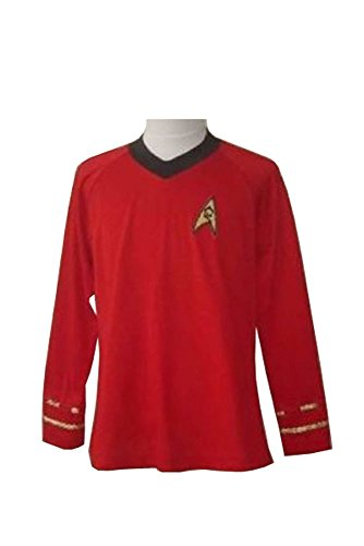 Star Trek TOS Engineering Red Hemd Uniform Cosplay Kostüm Herren (Tos Trek Star Uniform)