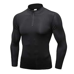 Plot Herren Kompressionsshirt Langarmshirt Funktionsshirts Top Fitness