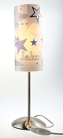Tischlampe, Kinderzimmer Lampe, Nachttischleuchte, Kinderlampe, Schlummerlampe, Baby Lampe, mit Namen, mit Stecker für Steckdose, für LED Leuchtmittel geeignet, Junge, Mädchen, Stern, blau