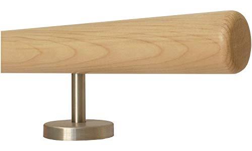 Ahorn Holz Treppe Handlauf Geländer Griff gerade Edelstahlhalter, Länge 30-500 cm aus einem Stück/Beispiel: 150 cm mit 3 Halter Radius gefräst -