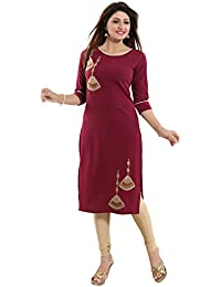 ALC Creations Women's Crepe Embroided Straight Kurti