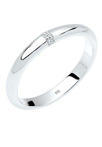 Diamore Damen-Ring Klassischer Drei Diamanten 0,02 Karat silber 925 weiß Gr. 56 (17.8) 0605140213_56 Drei Diamant-verlobungsring