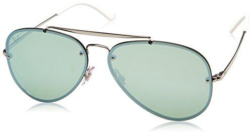 RAYBAN JUNIOR Unisex-Erwachsene Sonnenbrille Blaze Aviator Silver/Darkgreenmirrorsilver 61