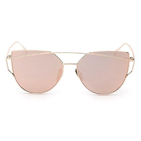 Women Sunglasses, Rcool Classic Twin-Beams Metal Frame Luxury Cat Eye Mirror Glasses (Rose Gold)