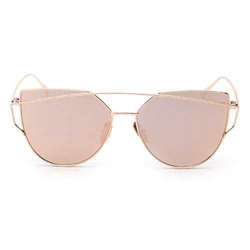 Women Sunglasses, Rcool Classic Twin-Beams Metal Frame Luxury Cat Eye Mirror Glasses (Rose Gold)