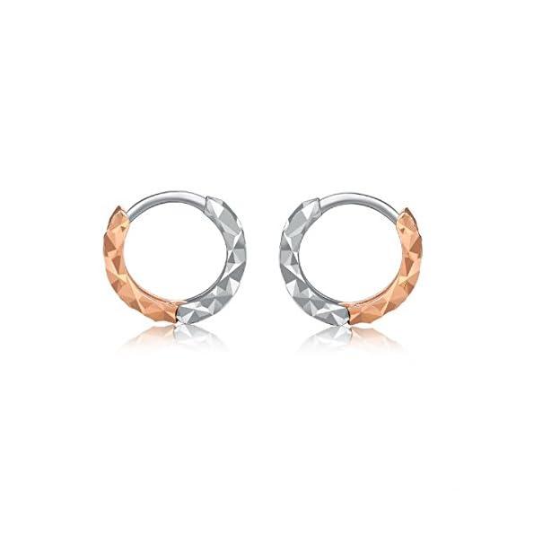 14ct 585Rose und Weiß Gold diamantiert Tiny Creolen (7mm) Kleine Schmuck Geschenk für Mädchen