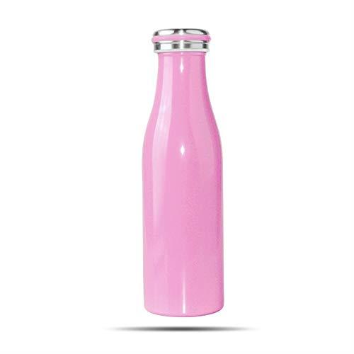 Modenny Tragbare Fahrradflasche Sport Wasserflasche Camping Radfahren Fahrrad Edelstahl Flasche Outdoor Fahrrad Wasserkocher Reiten Cup (Color : Pink)