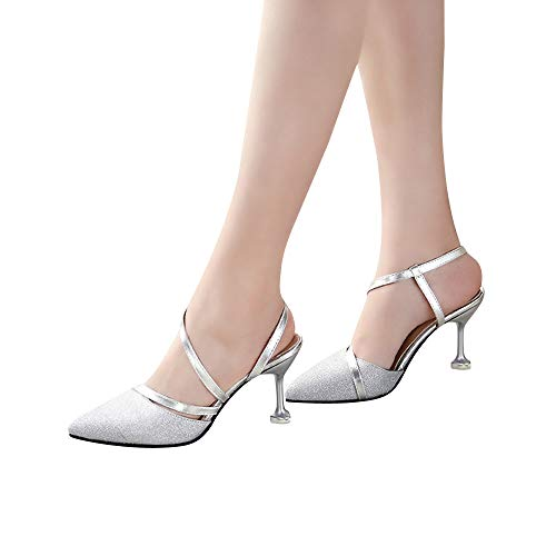 Beikoard-scarpa da donna con tacchi alti e sottili con paillettes e tacchi alti(argento,39)