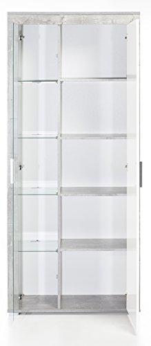 6.6.5.6.2956: made in BRD – Serie AWBW – schöne Standvitrine in weiss-grau gescheckt dekor – Glasvitrine – Vitrinenschrank weiss-grau gescheckt dekor - 2