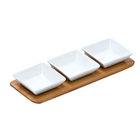 Square - Set of 3 White Porcelain Snack Bowls On Bamboo Tray Serving Tapas Dishes Nuts