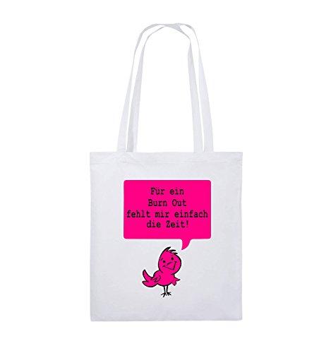 Comedy Bags - Für ein Burnout fehlt mir einfach die Zeit! - Jutebeutel - lange Henkel - 38x42cm - Farbe: Schwarz / Weiss-Rot Weiss / Schwarz-Pink