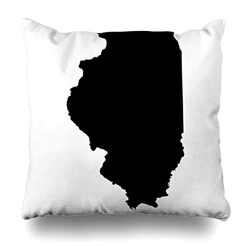 ZiJface Throw Pillows Covers Chicago Map Illinois Black White Outline State Home Decor Pillowcase Square Size 18 x 18 Inches Cushion Case Illinois Home Jersey