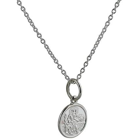 Ciondolo rotondo in argento di 10mm di diametro, San Cristoforo con catena di Rolo