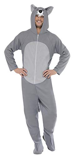 Fancy Dress Böse Kostüm Und Gut - Smiffys, Unisex Wolf Kostüm, All-in-One mit Kapuze, Größe: L, 27858