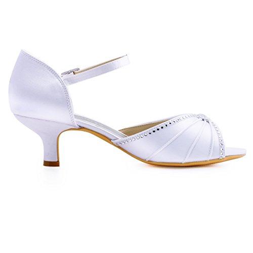 ElegantPark HP1623 Escarpins Satin Bout ouvert Diamant Talon Bas Sandales chaussures de mariee bal Blanc