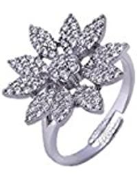 Elegant Flower Pattern American Diamond Silver Plated Fancy Adjustable Rings For Girls And Women By Color Jewels