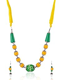 Rai Collection Women Fashion Designer Yellow Beaded Oxidized Silver Strand Necklace Pendant Neckpiece Set W/earrings...