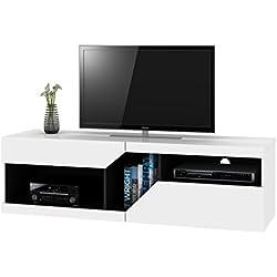 Zoom Meuble TV Design Graphique Contemporain Blanc et Noir 159,5 x 41 x 46,5 cm
