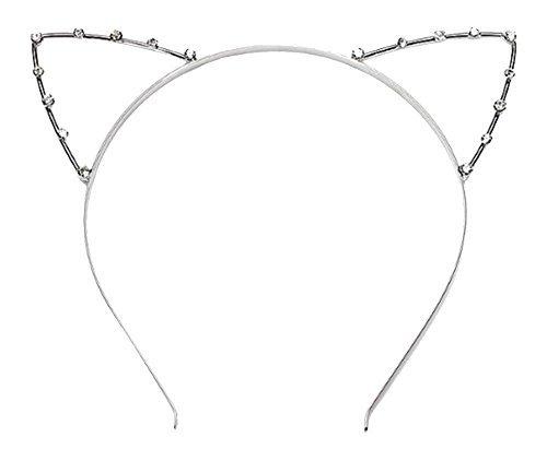 Nette Kristall Katze Ohren Stirnband Haarreif Haar Band Haar Zusätze für Mädchen Dame Frauen, Silber (Katze Stirnband Ohren Strass)