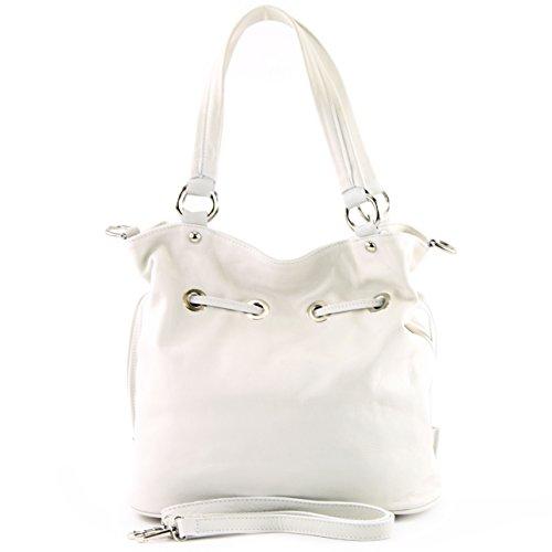 modamoda de - ital. Ledertasche Damentasche Handtasche Schultertasche Nappaleder DS53 Creme