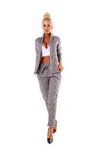 OSAB-Fashion 5423 Damen Hosenanzug Blazer Hose Business Karo Kariert Zweiteiler Slimfit Streetwear