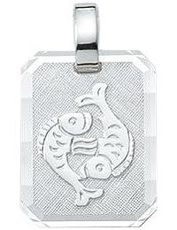 Silber 925 Sterling Silver Sternzeichen Anhänger - Fisch - B. 12 mm - H. 14,9 mm