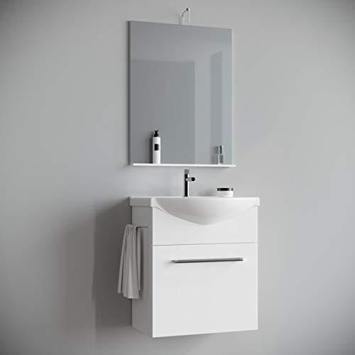 MarinelliGroup Mobile Bagno salvaspazio sospeso 60 cm Bianco con lavabo in Ceramica Specchio e Luce. Papavero