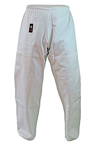 Budodrake Karatehose weiß mit Elastikbund 8 oz schwer für Karate Training für Kinder, Jugendliche, Erwachsene