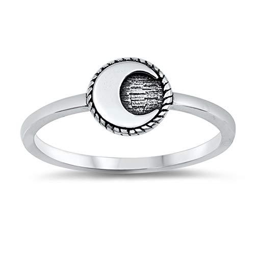 Anello in argento Sterling 925 ossidato con cerchio, luna, avventura, misure 4-12 e Argento, 9,5