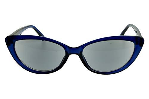 Lesesonnenbrillen mit Dioptrien für Damen Cateye Katzenaugendesign mit Etui blau transparent glänzend Kunststoff 1.0 1.5 2.0 2.5 3.0 3.5, Dioptrien:Dioptrien 2.0