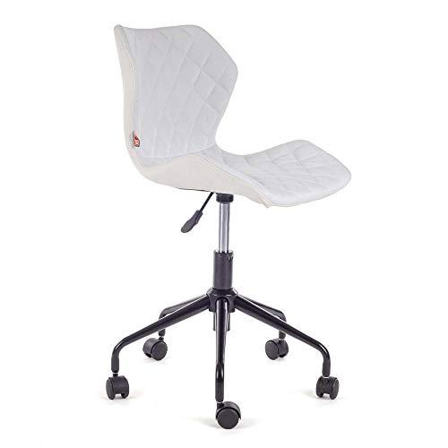 MY SIT Chaise de Bureau Siege de Bureau Tabouret Fauteuil Hauteur réglable Similicuir rembourré Rouleau Neuf Design en Blanc