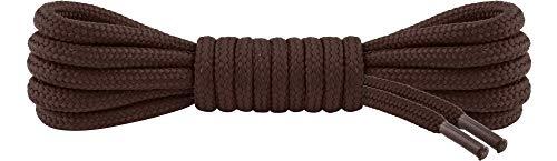 Ladeheid Qualitäts-Schnürsenkel LAKO1003, Elastische Rundsenkel für Arbeitsschuhe und Trekkingschuhe aus 100% Polyester, ø ca. 5 mm Breit, 25 Farben, 60-220 cm Länge (Braun, 140 cm/ø 5 mm)