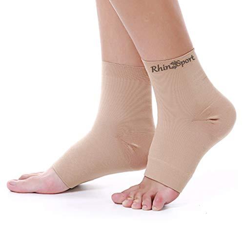 Kompressions-knöchelbandage (RhinoSport Knöchelbandage sprunggelenkbandage fussbandage mittelfuss,Schmerzlinderung und Blutzirkulation behilflich für Männer und Frauen XXL)