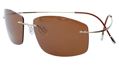 Eyekepper Randlos Titan Rahmen polarisierten Sonnenbrillen Braun Lens