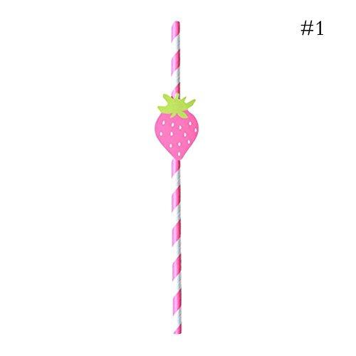 (Golden Lank Paper Straw 10 Stück Einweg Papier Obst Trinkhalme Geburtstag Hochzeit Party Favor Supplies (Erdbeeren))