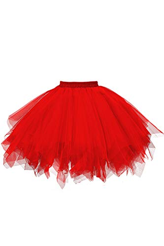 MuseverBrand 50er Vintage Ballet Blase Firt Tulle Petticoat Puffy Tutu Red Small/Medium