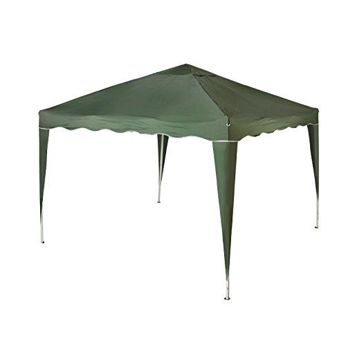 Vanage Pavillon Stella grün aus Aluminium ohne Seitenwände, 300x300x260cm, Faltpavillon einsetzbar als Gartenpavillon, Party- und Festzelt, Camping- und Festival-Zelt, Gartenmöbel