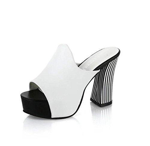 sandali e ciabatte Sandali con tacco europei e americani crosta spessa grossa testa di pesce impermeabile con i tacchi alti sandali di modo delle donne White