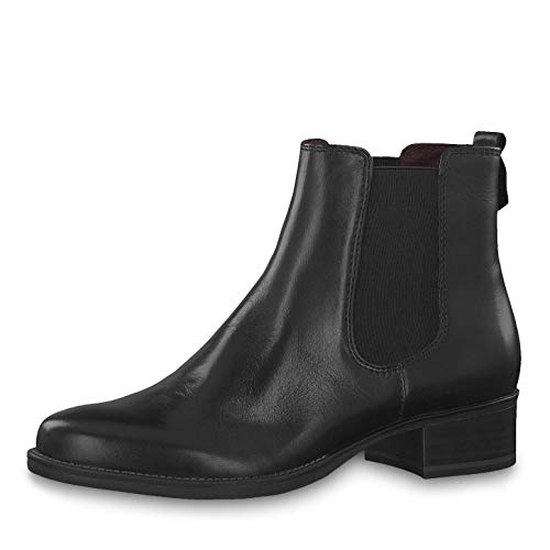 Tamaris Damen Stiefeletten 25399-23, Frauen Chelsea Boots, leger Stiefel halbstiefel Stiefelette Bootie Schlupfstiefel flach Lady,Black,38 EU / 5 UK