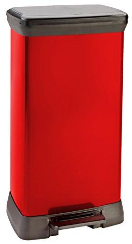 Curver 187180 Poubelle à pédale Aspect métal Rouge 50 L