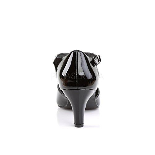 PleaserUSA T-Strap Pumps Divine-415 Lack Schwarz