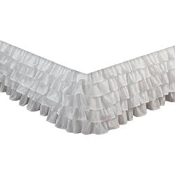 Greenland Home - Falda de Cama con Volantes a la Moda, Algodón, Blanco, Matrimonio Doble