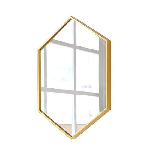 YYHSND Gran Espejo de Pared Hexagonal de Metal 50x70cm Oro Negro 3 tamaños Espejo de Pared Color ...