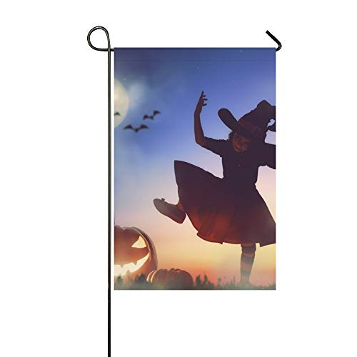 Home Dekorative Outdoor Doppelseitige Happy Halloween Nette Kleine Hexe Große Garten Flagge, haus Hof Flagge, garten Hof Dekorationen, saisonale Willkommen Outdoor Flagge 12 X 18 Zoll Frühling - Kleiner Junge Hexe Kostüm