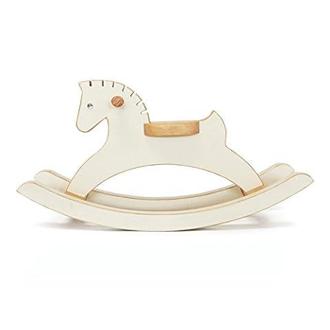 Handmade Wooden Miniature Rocking Horse 10.8 Inch Decorative Animal Sculpture Art Figurine Home Decor Accent Ornament Rocker