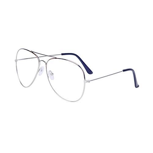 JoXiGo Brille Ohne Sehstärke für Herren Damen Pilotenbrille Metallgestell Klare Linse Dekobrille mit Etui
