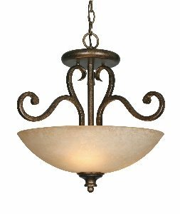 Golden Lighting 8063SFBUS Convertible Semi Flush Mount with Tea Stone Glass Shades, Burnt Sienna Finish by Golden Lighting (Flush Sienna)